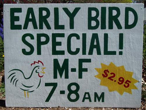 Early Bird Special Sign